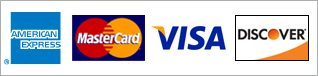 We accept Amex, Visa, Mastercard, and Discover