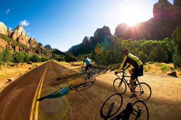 Biking Zion Park road