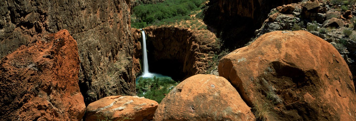 Hiking in Havasupai below Mooney Falls