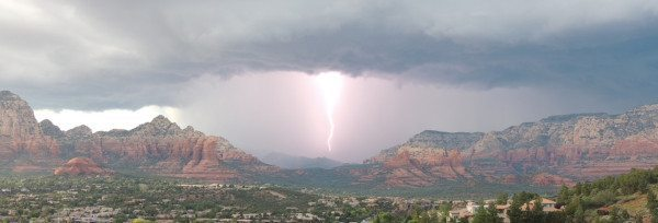 Lightning strike in Sedona, Arizona