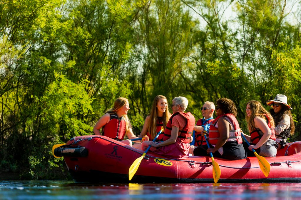 Group on a river rafting tour.