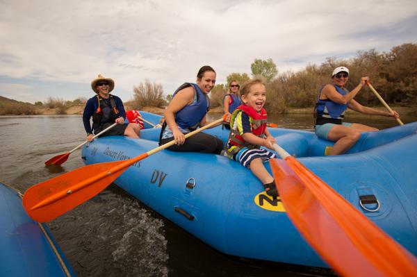 family floating down Salt river.