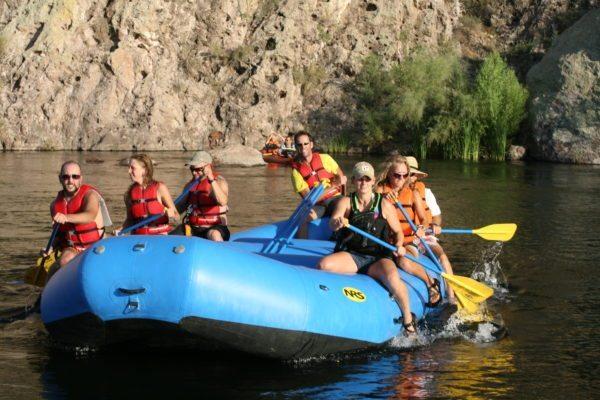 Paddling down the Lower Salt on a mild float trip, class I rafting
