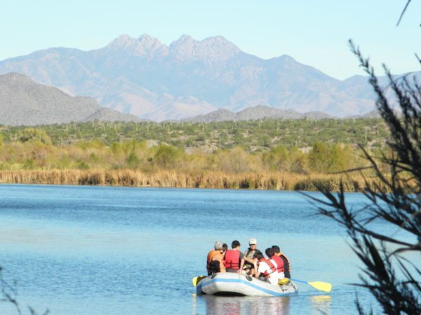 Rafting the lower salt river with Four Peaks in the background.