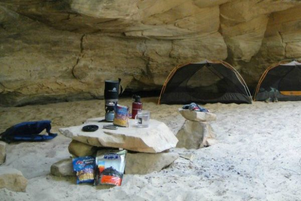 backpacking trip on the Escalante River camp set up