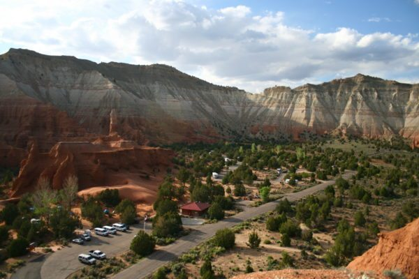 A parking area and campsite at Bryce Canyon National Park.