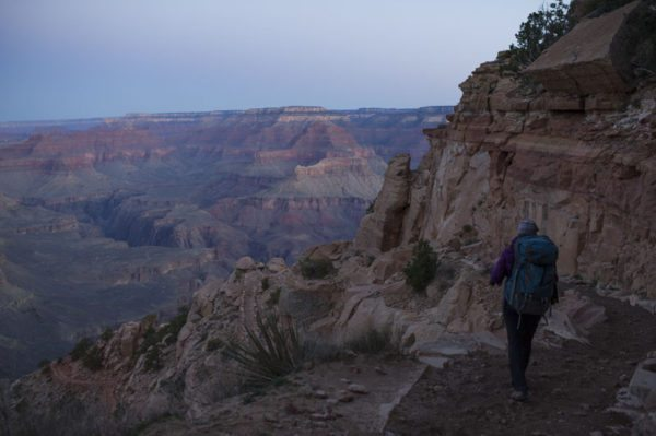 Hike into Grand Canyon before Sunrise