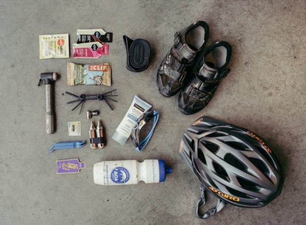 A number of tools to use on a bicycle.
