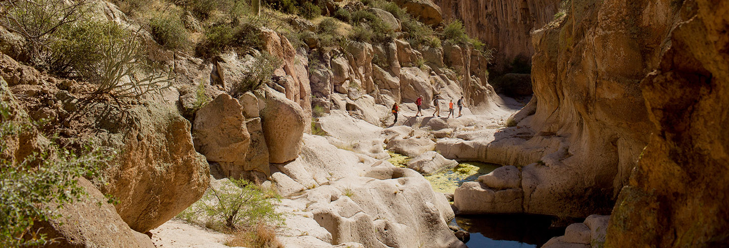 go on a guided backpacking trip in Aravaipa Canyon, Arizona, with AOA Adventures