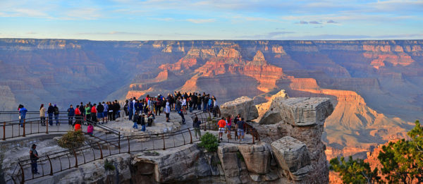 People gather around Mather Point.