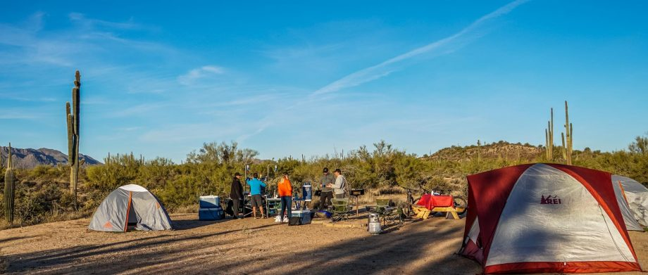 Mountain bike tour group makes camp on Arizona trip
