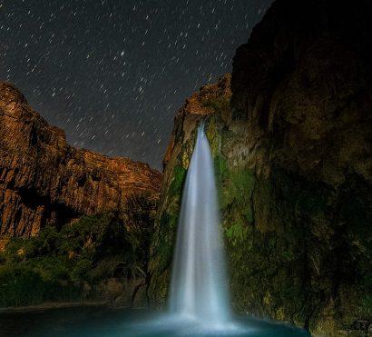 Time lapse starry night over Havasu Falls