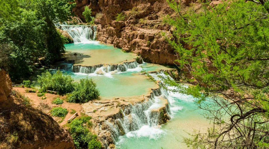 Havasu Falls stepped waterfalls in Grand Canyon