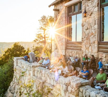 Adventurers enjoy sunset on Grand Canyon Lodge patio