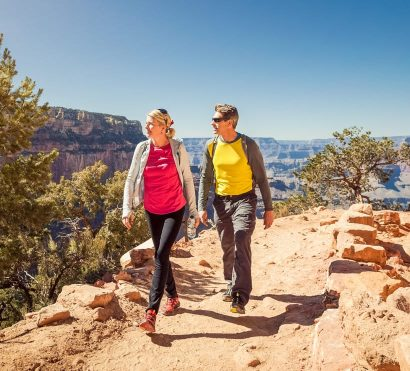 Hikers overlook Grand Canyon on classic hiking trip