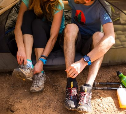 Hikers prepare to leave tent on Grand Canyon backpacking tour