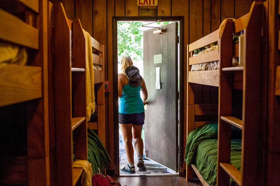 Hiker exits Grand Canyon cabin on Rim to Rim trip