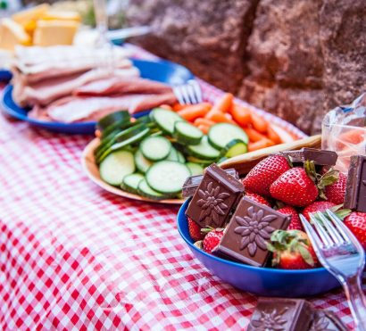 Lunch food offerings on Grand Canyon Rim to Rim hiking trip