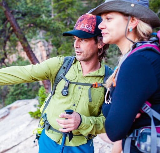 AOA tour guide speaks to hiker