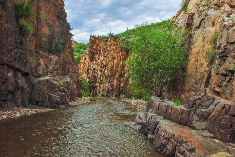 Aravaipa Canyon river valley seen on backpacking trip