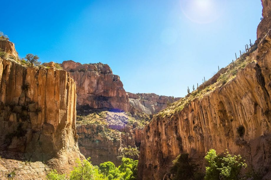 Aravaipa Canyon valley walls seen on backpacking trip
