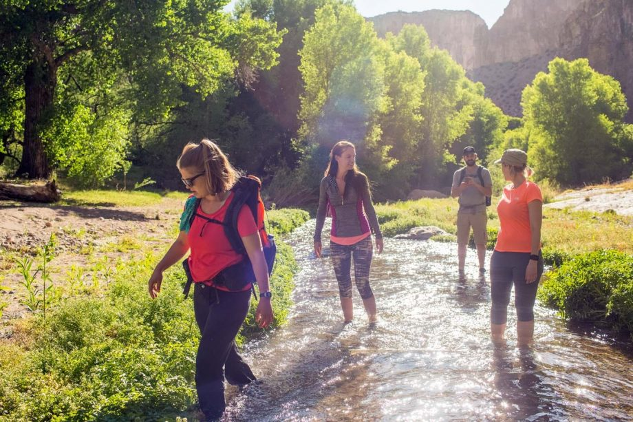 Hikers wade in river on Aravaipa Canyon backpacking trip