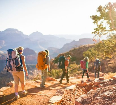 Hikers descend into Grand Canyon on Bright Angel backpacking trip