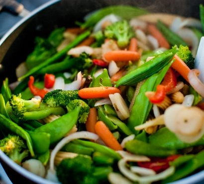 Close up of vegetable stir fry on hiking trip