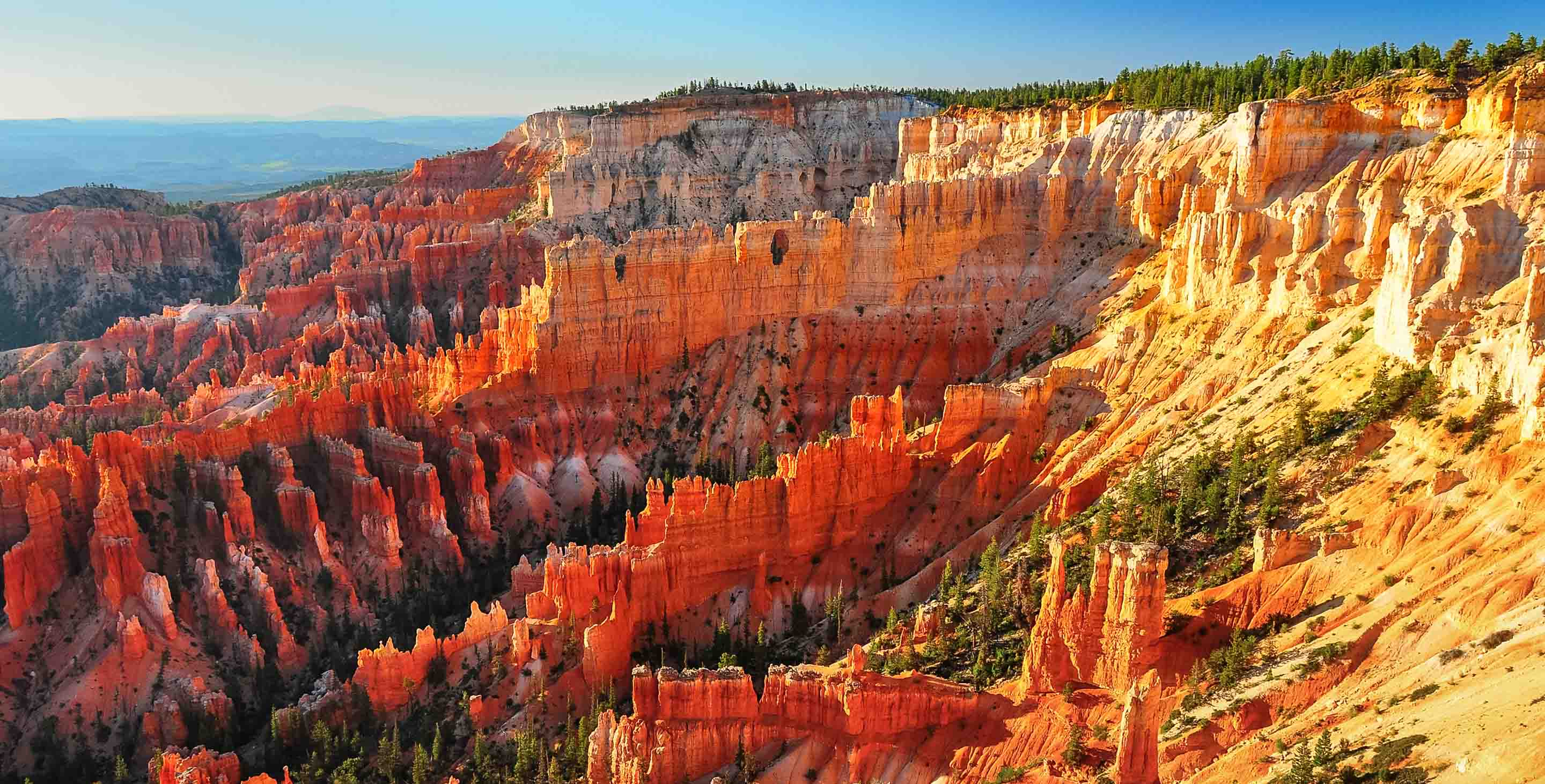 Overlook view of Bryce Canyon National Park at sunrise.