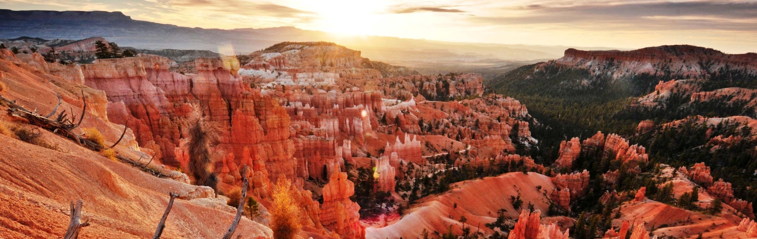 Overlook view of Bryce Canyon National Park at sunset