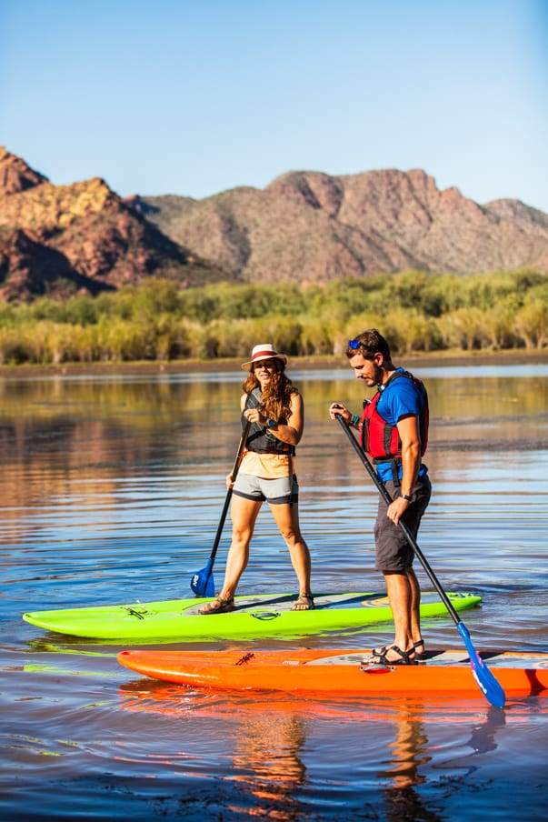 Stand up paddleboarding on Saguaro Lake