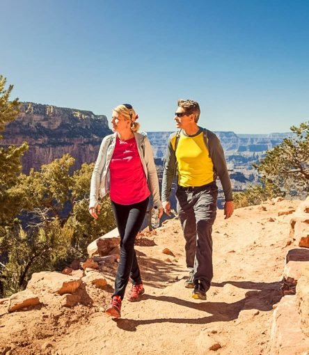 Hikers admire view on Grand Canyon trail
