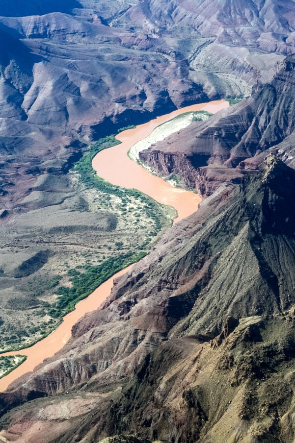 Birdseye view of river in the Grand Canyon