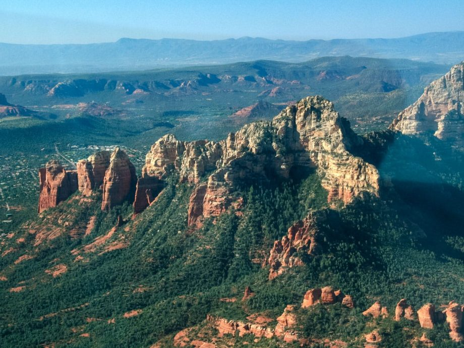 Aerial view of forested Grand Canyon valleys