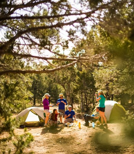 Hikers have a meal at Grand Canyon Hermit Trail trip campsite