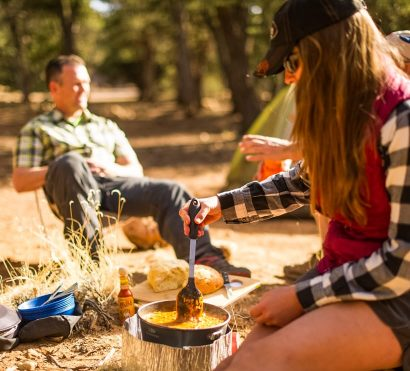 Campers prepare meal on Grand Canyon Hermit Trail trip