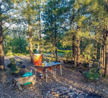 Campsite setup on Grand Canyon mountain bike tour