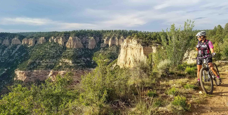 Mountain biker on tour stops to view Grand Canyon.