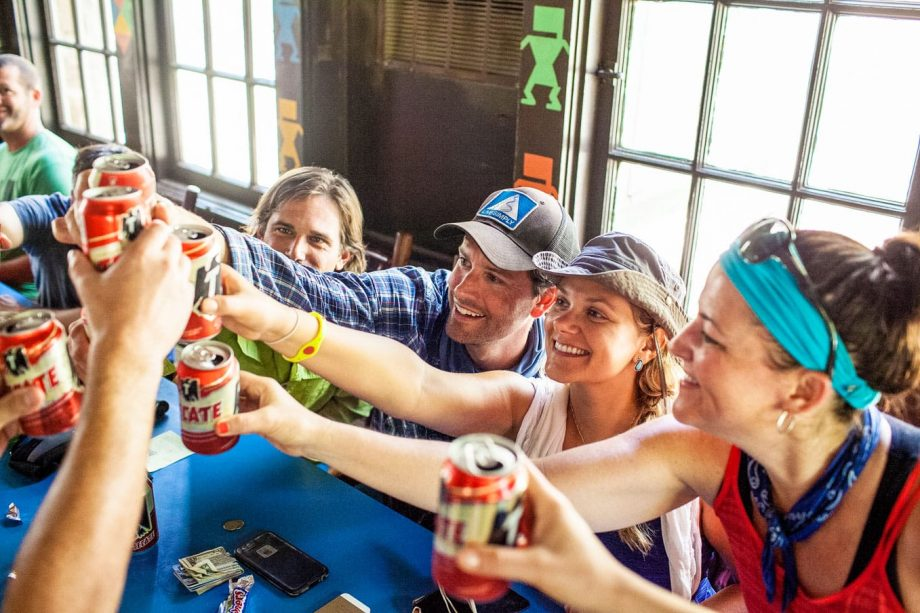Hiking group does cheers with drinks on Rim to Rim trip