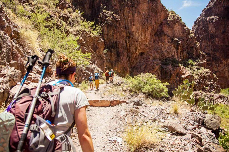 Hikers climb trail on Grand Canyon Rim to Rim trip