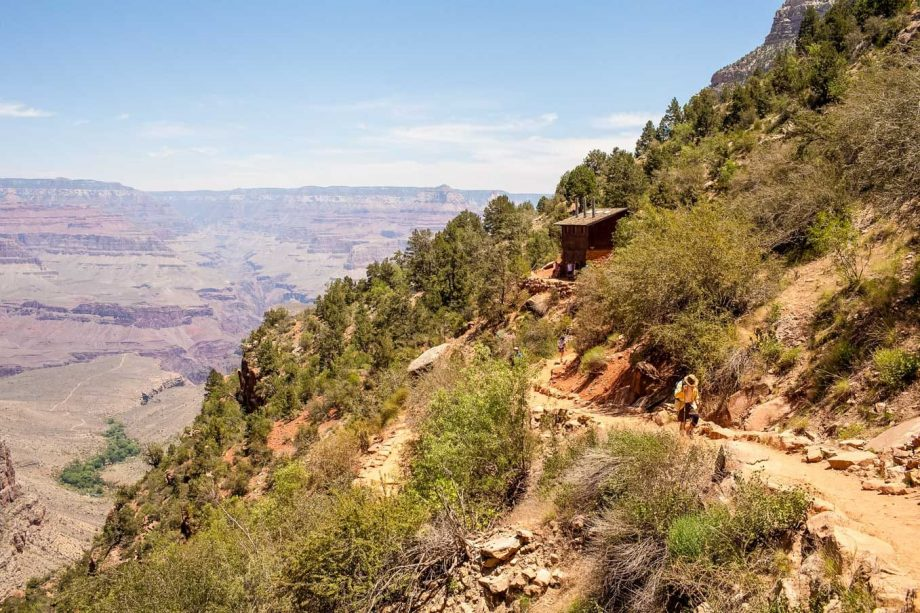 Hiker overlooks Grand Canyon on 3-day Rim to Rim hiking tour