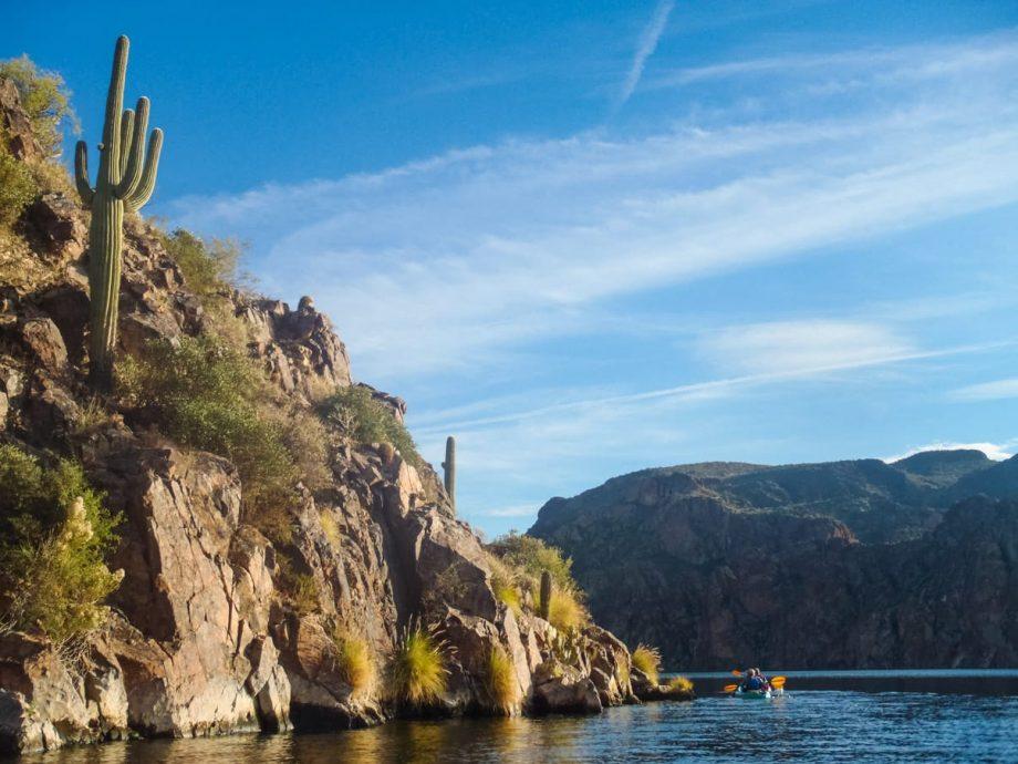 Kayakers on half day lake tour in Arizona