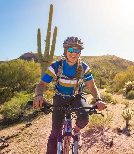 Smiling cyclist on Scottsdale mountain bike day tour