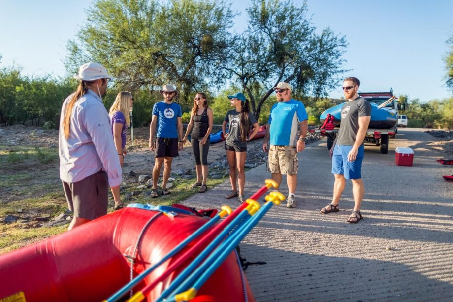 Tour group prepares for half day rafting trip