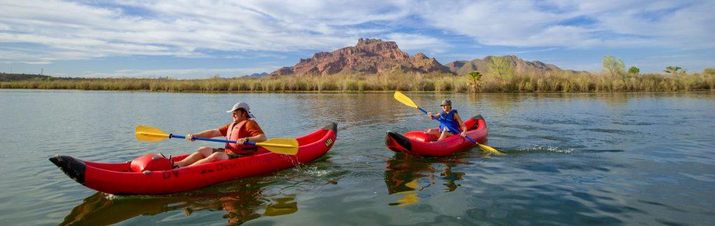 Kayakers paddle Lower Salt River on Arizona tour.