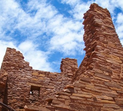 Grand Canyon stone building against bright blue sky