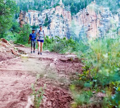 Hikers descend trail on Grand Canyon Rim to Rim trip