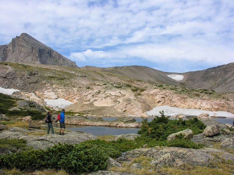Hikers stand against Rocky Mountain landscape on backpacking trip