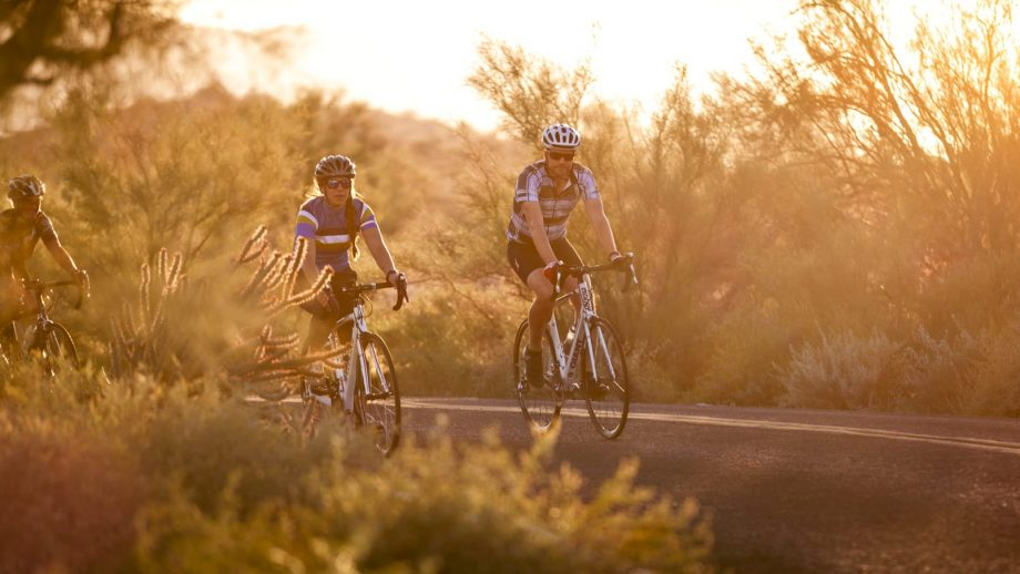 Cyclists in the sunset on Scottsdale road bike tour