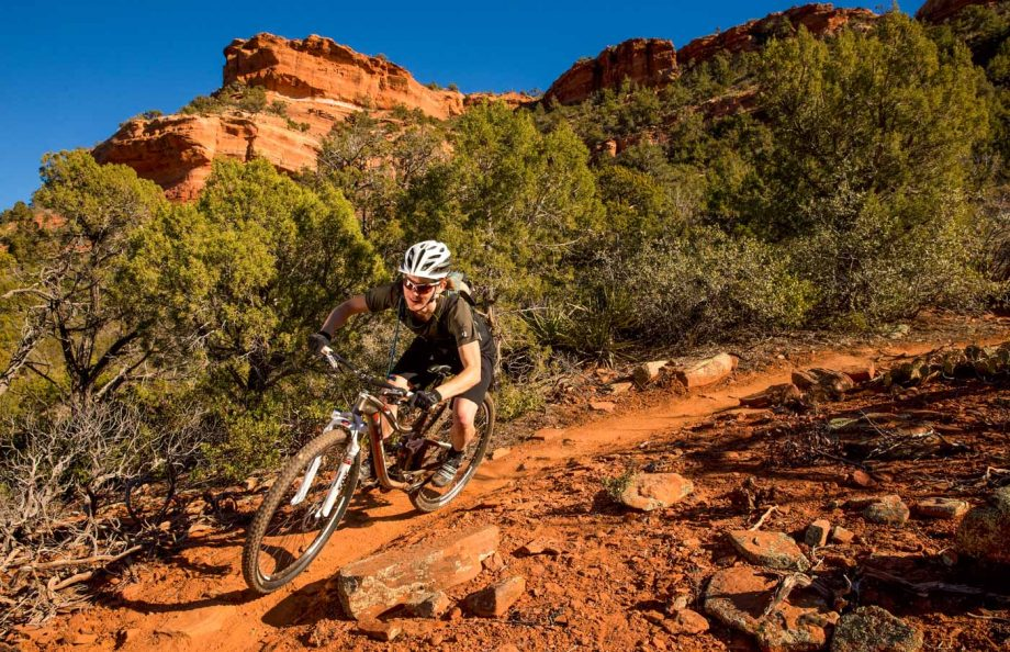 Mountain biker rides rocky trail on Scottsdale Sedona tour
